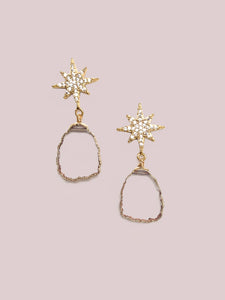 Star Sliced Drop Earrings - Clear