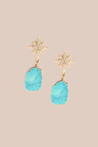 Star Sliced Drop Earrings - Turquoise