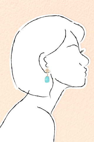 Star Sliced Drop Earrings - Turquois