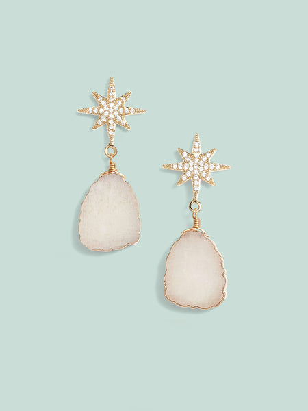 Star Sliced Drop Earrings - White