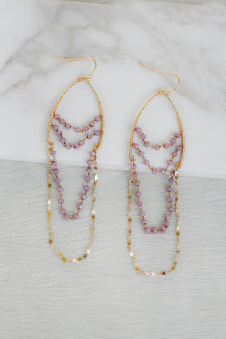 Chandelier Wishbone Earrings in Lilac