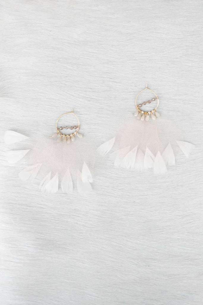 Ballerina Tulle and Feather Earrings