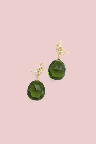 Gemstone Post Earrings - Green