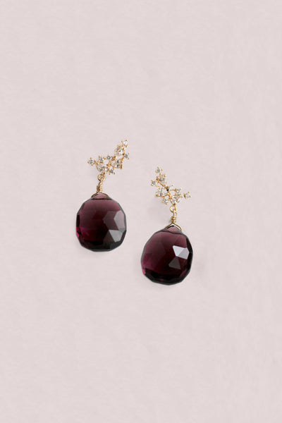 Gemstone Post Earrings - Maroon