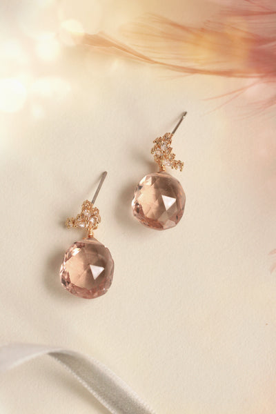 Gemstone Post Earrings - Rose