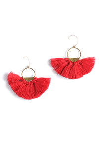 Half Lunar Tassels Statement Earrings - Red