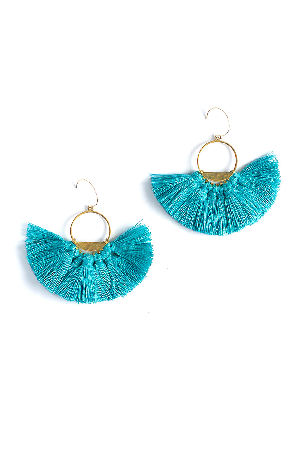 Half Lunar Tassels Statement Earrings - Turquoise