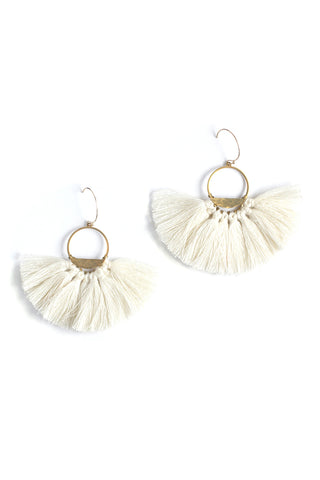 Half Lunar Tassels Statement Earrings - White