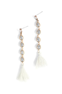 Tassel Sparkle Drop Earrings - White