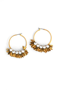 Crystal and Leaf Statement Earrings - Gold