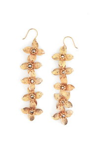 Linear Floral Earrings - Gold