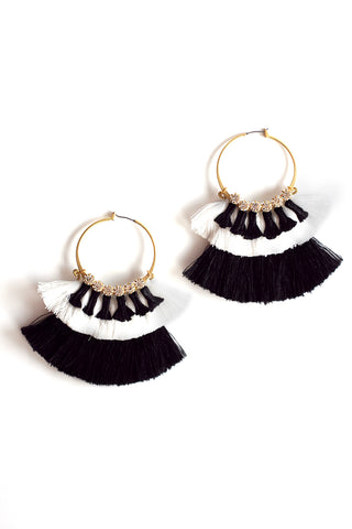 Color Block Silk Tassel Hoops - Black