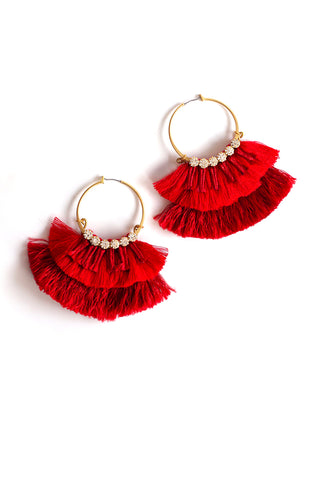 Color Block Silk Tassel Hoops - Red