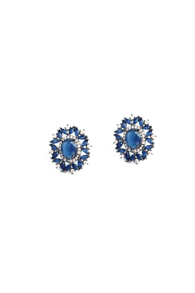 Floral Crystal Stud Earrings - Navy