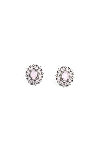 Floral Crystal Stud Earrings - Blush