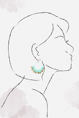 Crochet Wax Cord Earrings - Mint