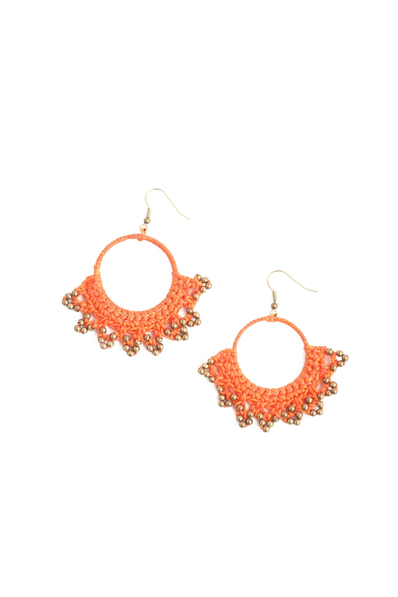 Crochet Wax Cord Earrings - Orange
