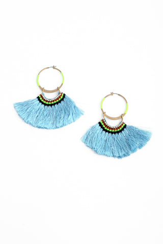 Silky Aztec Statement Hoops - Blue