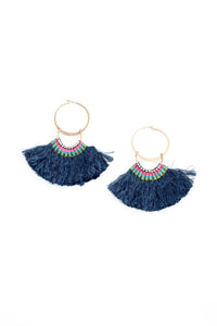 Silky Aztec Statement Hoops - Navy