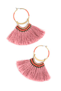 Silky Aztec Statement Hoops - Rose