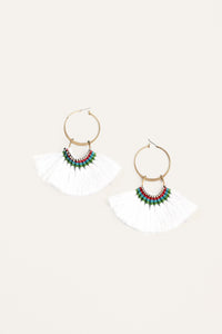 Silky Aztec Statement Hoops - White