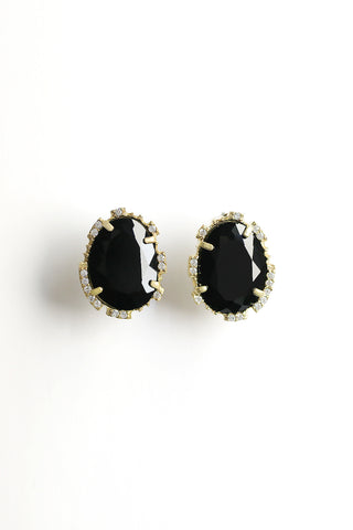 Statement Post Earrings - Black