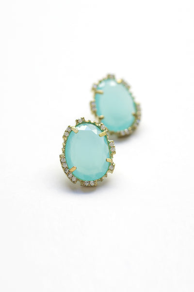 Statement Post Earrings - Turquoise