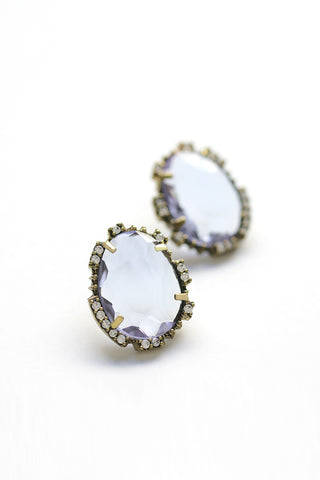 Statement Post Earrings - Violet
