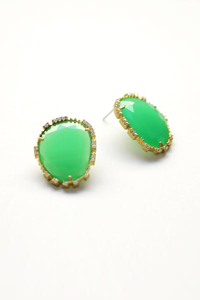 Large Statement Post Earrings - Green