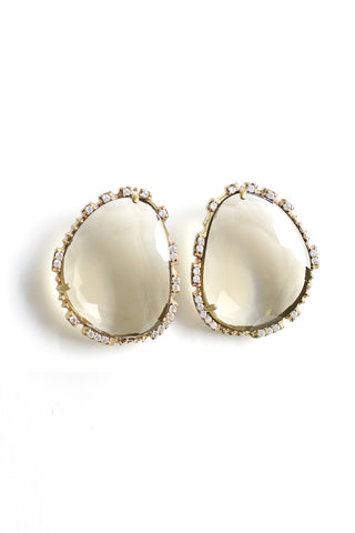 Large Statement Post Earrings - Smoke