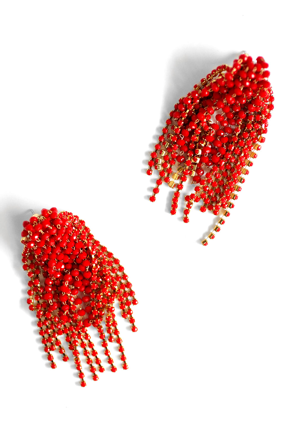 Crystal Statement Earrings - Coral