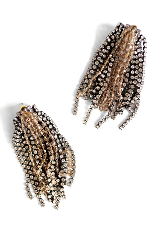 Crystal Statement Earrings - Grey