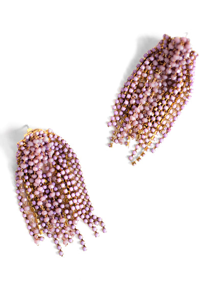 Crystal Statement Earrings - Lilac