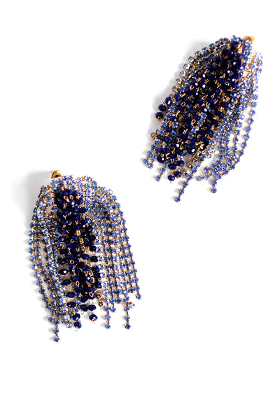 Crystal Statement Earrings - Navy