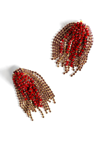 Crystal Statement Earrings - Red
