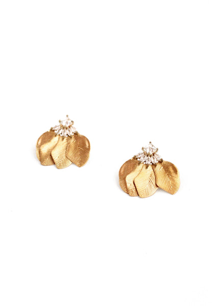 Sparkle Leaf Earrings - Gold