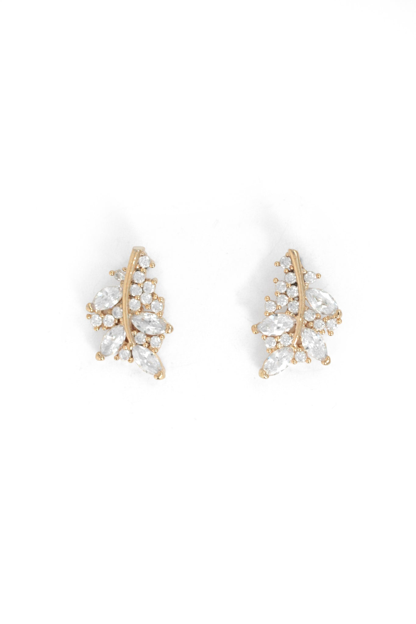 Encrusted Leaf Earrings - Gold