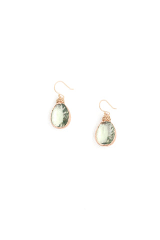 Teardrop Crystal Earrings - Mint