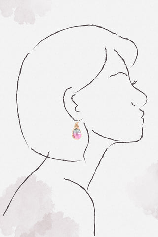 Teardrop Crystal Earrings - Pink