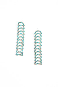 Linked Crystal Drop Earrings - Mint