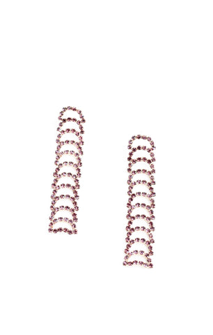 Linked Crystal Drop Earrings - Pink
