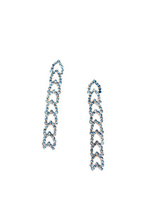 Linked Crystal Drop Earrings - Sapphire