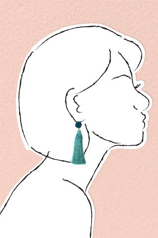 Long Tassel Drop Earrings - Mint