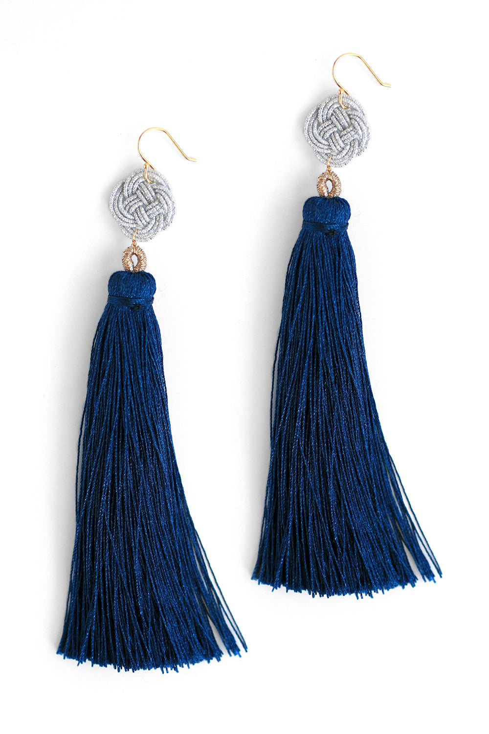 Long Tassel Drop Earrings - Navy