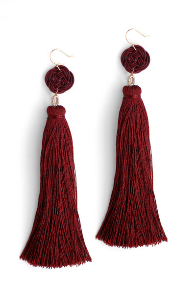 Long Tassel Drop Earrings - Red