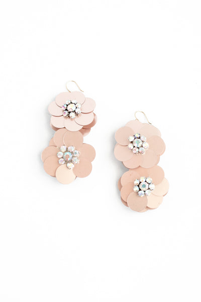 Sequin Flowers Double Drop Earrings - Blush