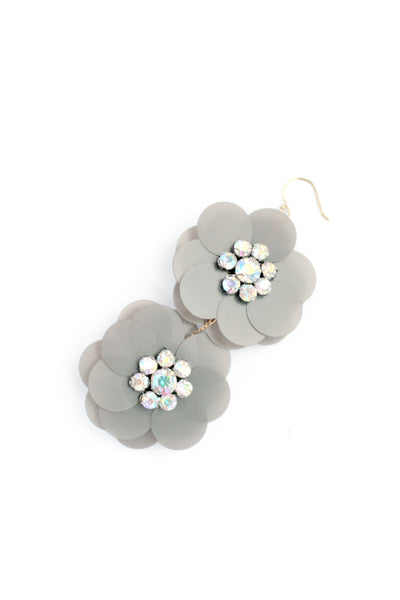 Sequin Flowers Double Drop Earrings - Grey