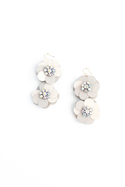 Sequin Flowers Double Drop Earrings - Ivory