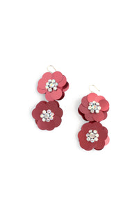 Sequin Flowers Double Drop Earrings - Red