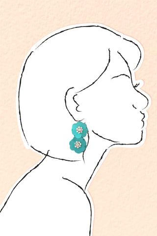 Sequin Flowers Double Drop Earrings - Turquoise